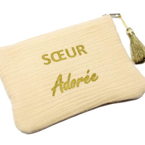 Trousse-Pochette-Coton-Beige-Message-Soeur-Adoree-Pompon-Dore