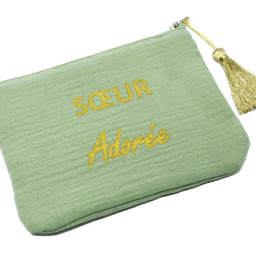 Trousse-Pochette-Coton-Vert-Message-Soeur-Adoree-Pompon-Dore