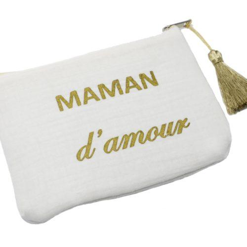 Trousse-Pochette-Coton-Blanc-Message-Maman-dAmour-Pompon-Dore