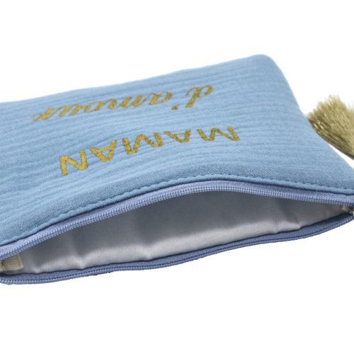 Trousse-Pochette-Coton-Bleu-Message-Maman-dAmour-Pompon-Dore