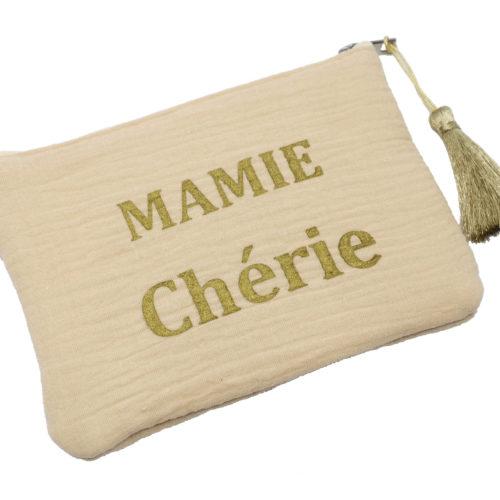 Trousse-Pochette-Coton-Beige-Message-Mamie-Cherie-Pompon-Dore
