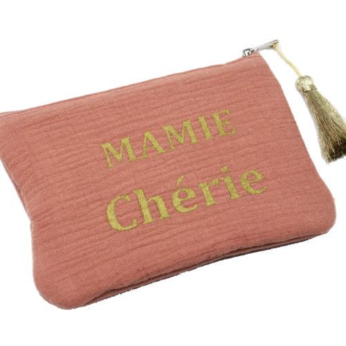 Trousse-Pochette-Coton-Vieux-Rose-Message-Mamie-Cherie-Pompon-Dore