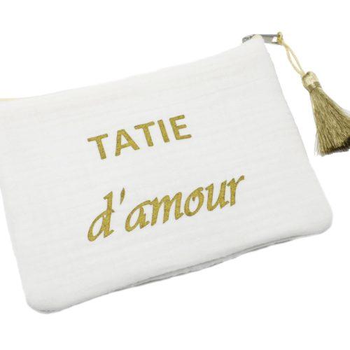 Trousse-Pochette-Coton-Blanc-Message-Tatie-dAmour-Pompon-Dore