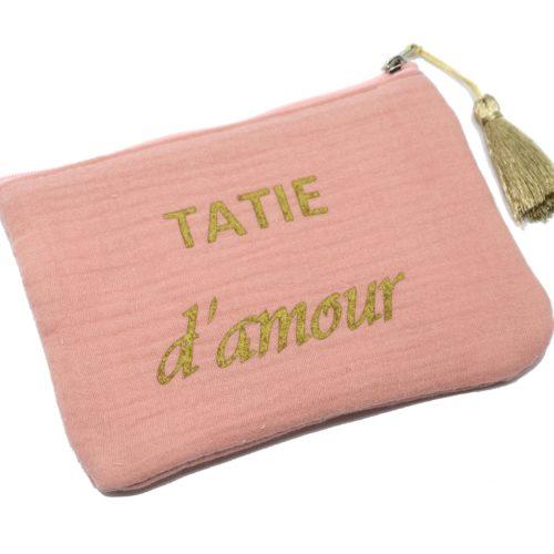 Trousse-Pochette-Coton-Rose-Message-Tatie-dAmour-Pompon-Dore