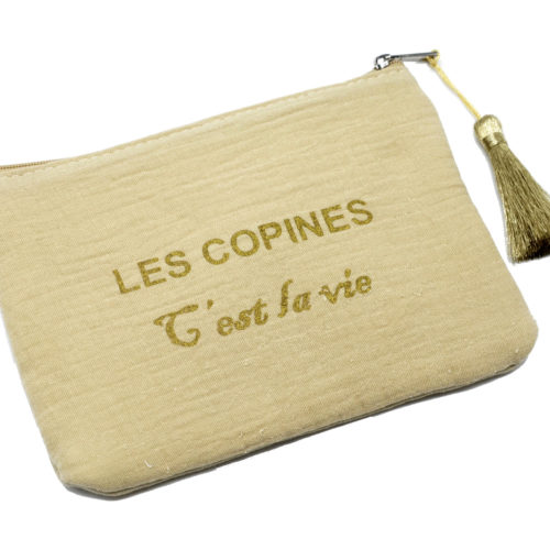 Trousse-Pochette-Coton-Beige-Message-Les-Copines-Cest-La-Vie-Pompon-Dore