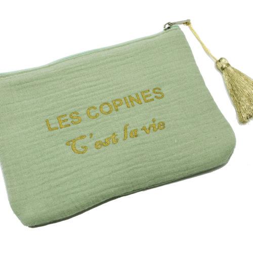 Trousse-Pochette-Coton-Vert-Message-Les-Copines-Cest-La-Vie-Pompon-Dore