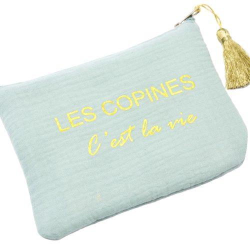 Trousse-Pochette-Coton-Vert-dEau-Message-Les-Copines-Cest-La-Vie-Pompon-Dore