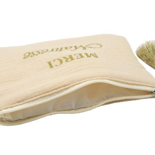 Trousse-Pochette-Coton-Beige-Message-Merci-Maitresse-Pompon-Dore