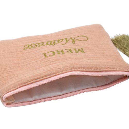 Trousse-Pochette-Coton-Rose-Message-Merci-Maitresse-Pompon-Dore