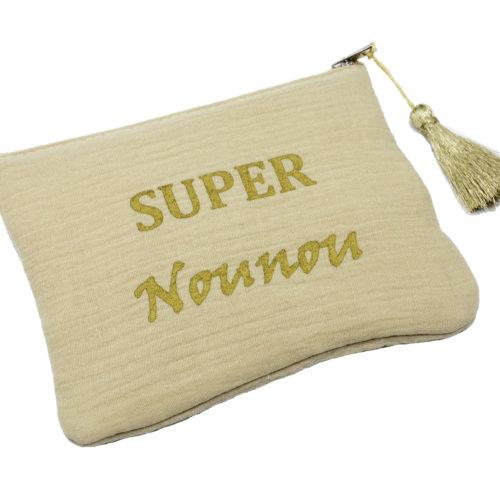 Trousse-Pochette-Coton-Beige-Message-Super-Nounou-Pompon-Dore