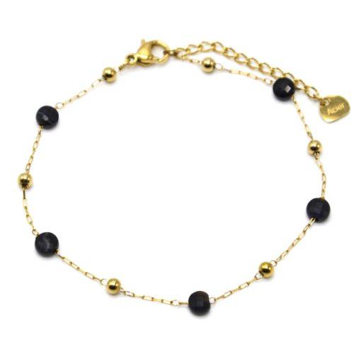 Bracelet-Fine-Chaine-Billes-Acier-Dore-et-Pierres-Noires