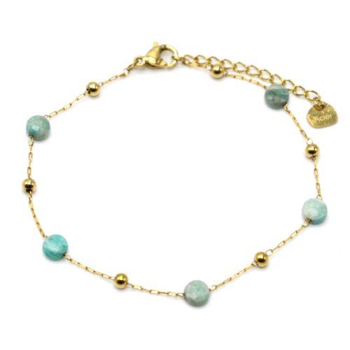 Bracelet-Fine-Chaine-Billes-Acier-Dore-et-Pierres-Vertes