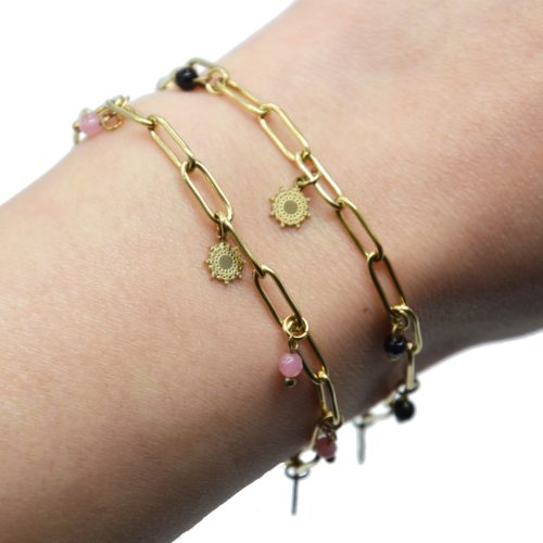 Bracelet-Chaine-Maillons-avec-Soleils-Acier-Dore-et-Pierres