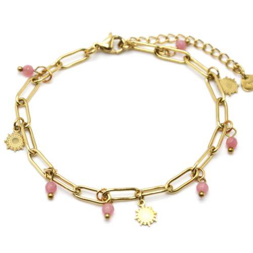 Bracelet-Chaine-Maillons-avec-Soleils-Acier-Dore-et-Pierres-Roses