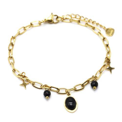 Bracelet-Chaine-Maillons-avec-Etoiles-Acier-Dore-Perles-et-Pierre-Ovale-Noire