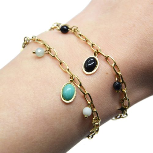 Bracelet-Chaine-Maillons-avec-Etoiles-Acier-Dore-Perles-et-Pierre-Ovale