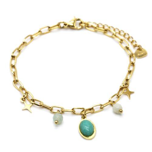 Bracelet-Chaine-Maillons-avec-Etoiles-Acier-Dore-Perles-et-Pierre-Ovale-Verte