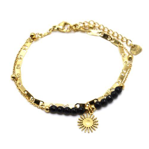 Bracelet-Double-Chaines-Maillons-Plats-Billes-avec-Soleil-Acier-Dore-et-Pierres-Noires