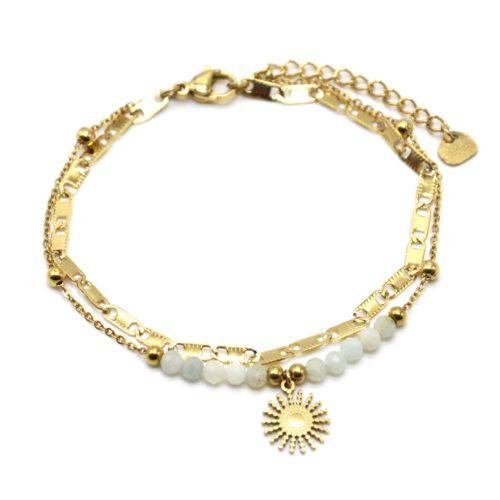Bracelet-Double-Chaines-Maillons-Plats-Billes-avec-Soleil-Acier-Dore-et-Pierres-Blanches