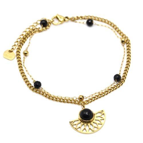 Bracelet-Double-Chaines-Perles-Billes-avec-Demi-Rosace-Acier-Dore-et-Pierre-Noire