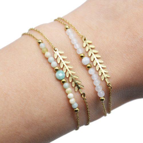 Bracelet-Double-Chaines-Epi-de-Ble-Acier-Dore-et-Pierres