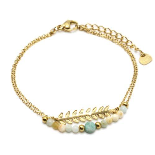 Bracelet-Double-Chaines-Epi-de-Ble-Acier-Dore-et-Pierres-Vertes