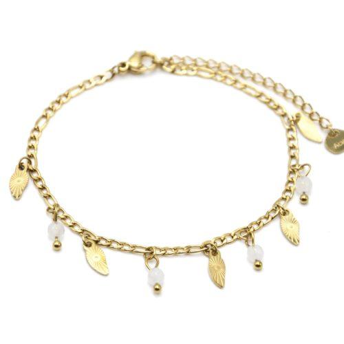 Bracelet-Chaine-Feuilles-Rayons-Acier-Dore-et-Pierres-Blanches