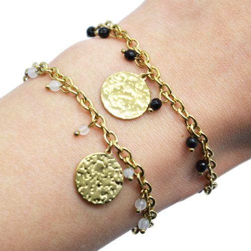 Bracelet-Chaine-Maillons-avec-Medaille-Martelee-Acier-Dore-et-Pierres