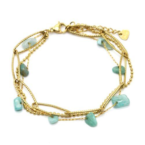 Bracelet-Triple-Chaines-Maillons-Larges-Billes-Acier-Dore-et-Pierres-Vertes