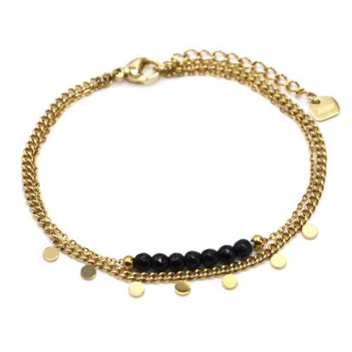 Bracelet-Double-Chaines-Mini-Pampilles-Acier-Dore-et-Pierres-Noires