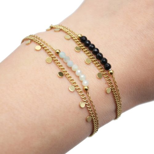 Bracelet-Double-Chaines-Mini-Pampilles-Acier-Dore-et-Pierres