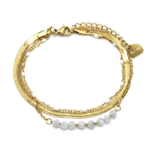 Bracelet-Triple-Chaines-Serpentine-Acier-Dore-Perles-Email-et-Pierres-Blanches