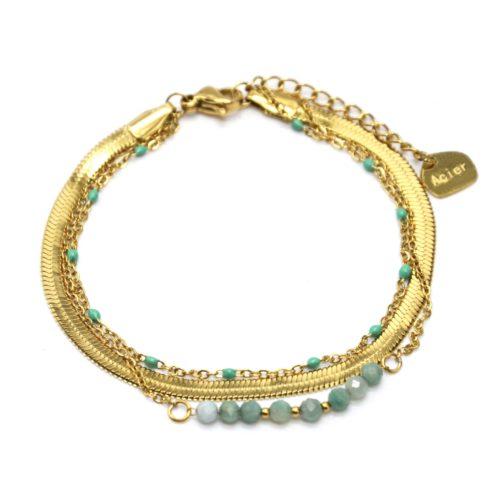 Bracelet-Triple-Chaines-Serpentine-Acier-Dore-Perles-Email-et-Pierres-Vertes