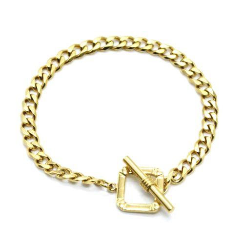 Bracelet-Chaine-Maillons-avec-Carre-et-Barre-Acier-Dore