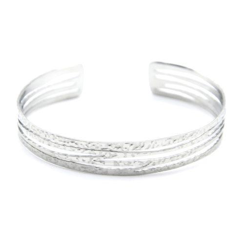 Bracelet-Jonc-Multi-Rangs-Marteles-Acier-Argente