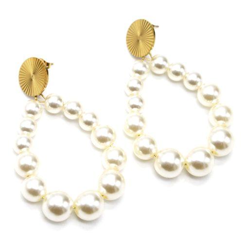 Boucles-dOreilles-Medaille-Acier-Dore-et-Goutte-Perles-Resine-Ecru