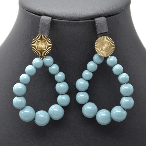 Boucles-dOreilles-Medaille-Acier-Dore-et-Goutte-Perles-Resine-Bleu-Gris
