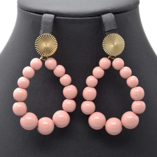 Boucles-dOreilles-Medaille-Acier-Dore-et-Goutte-Perles-Resine-Vieux-Rose