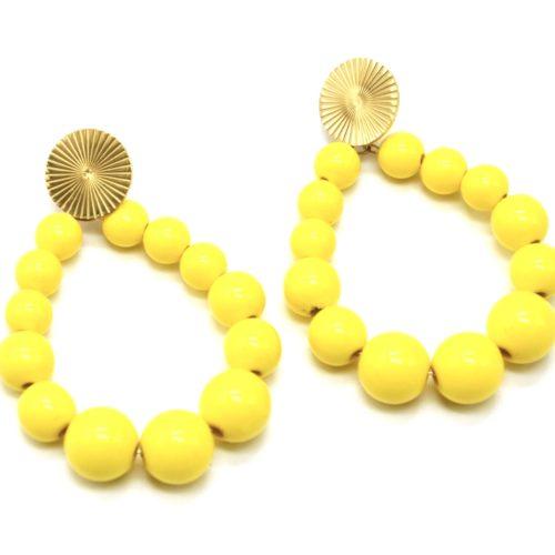 Boucles-dOreilles-Medaille-Acier-Dore-et-Goutte-Perles-Resine-Jaune