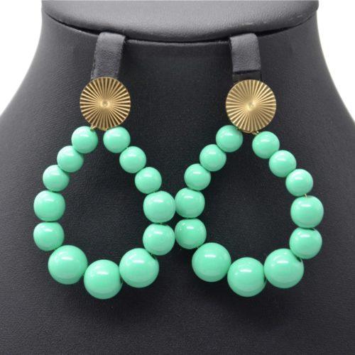 Boucles-dOreilles-Medaille-Acier-Dore-et-Goutte-Perles-Resine-Vert-Menthe