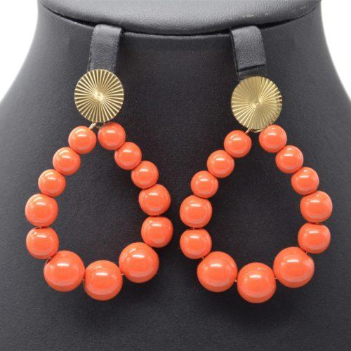 Boucles-dOreilles-Medaille-Acier-Dore-et-Goutte-Perles-Resine-Orange-Fonce