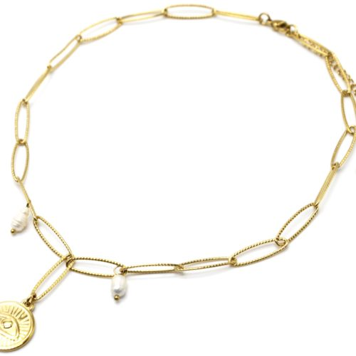 Collier-Chaine-Gros-Maillons-Medaille-Oeil-Acier-Dore-et-Perles-dEau-Douce