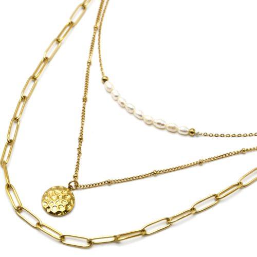 Collier-Triple-Chaines-Maillons-Billes-Perles-et-Medaille-Martelee-Acier-Dore