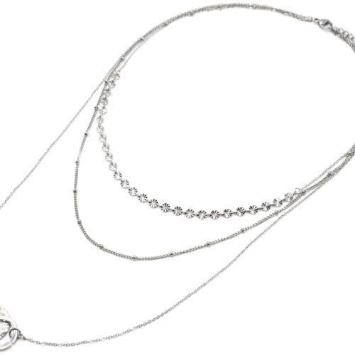 Collier-Triple-Chaines-Medailles-Rayons-Billes-et-Cercles-Entrelaces-Acier-Argente