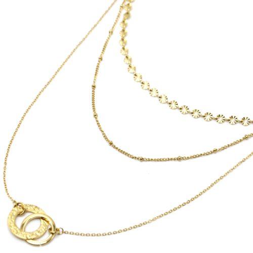 Collier-Triple-Chaines-Medailles-Rayons-Billes-et-Cercles-Entrelaces-Acier-Dore