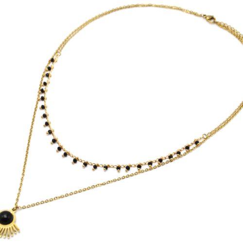 Collier-Double-Chaines-Mini-Perles-avec-Demi-Soleil-Acier-Dore-et-Pierre-Noire