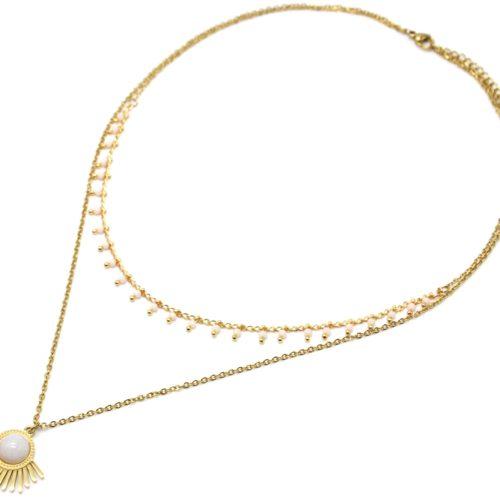 Collier-Double-Chaines-Mini-Perles-avec-Demi-Soleil-Acier-Dore-et-Pierre-Blanche