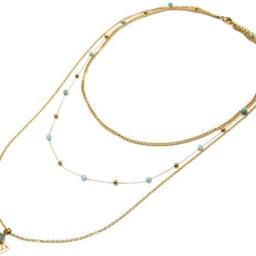Collier-Triple-Chaines-Perles-Billes-avec-Demi-Rosace-Acier-Dore-et-Pierre-Verte