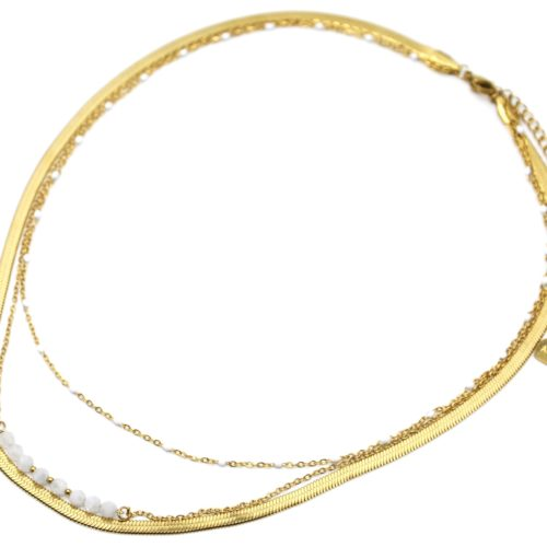 Collier-Triple-Chaines-Serpentine-Acier-Dore-Mini-Perles-et-Pierres-Blanches