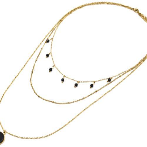 Collier-Triple-Chaines-Acier-Dore-avec-Perles-et-Pierre-Ronde-Noire
